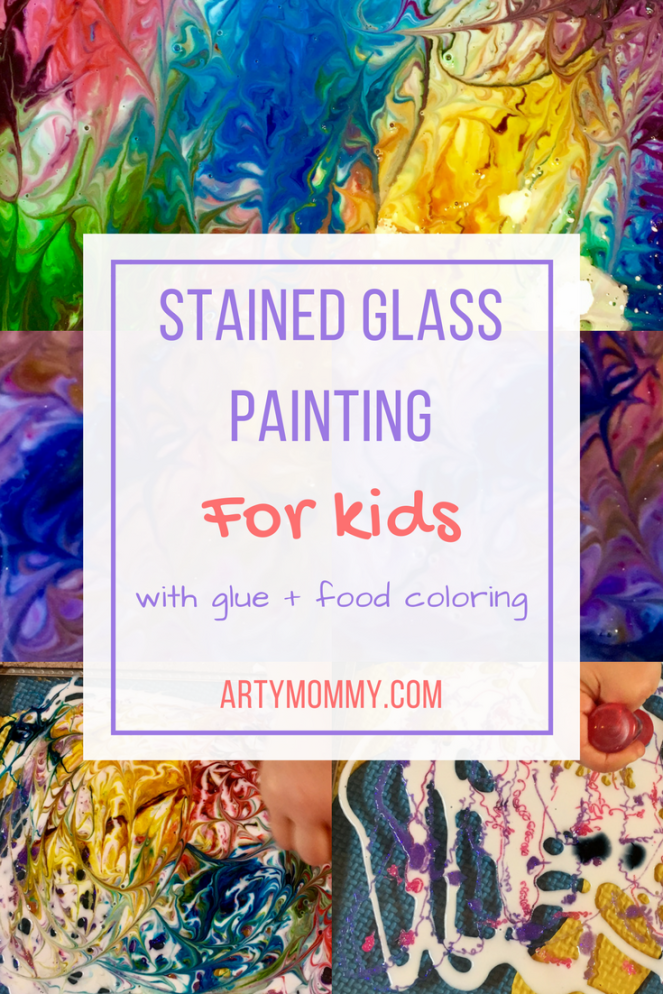 Stained glass painting for kids with glue and food coloring