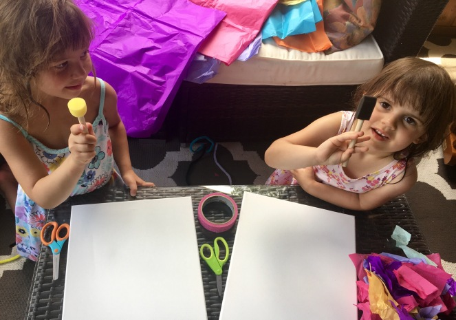 Tissue paper tape resist painting for kids