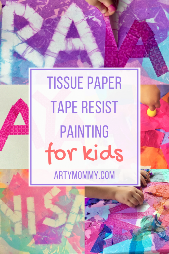 Tissue paper tape resist painting for kids artymommy.com