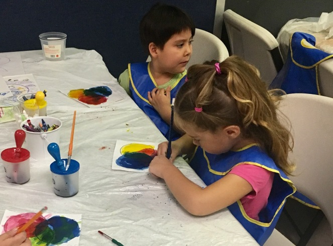 Color mixing with primary and secondary colors