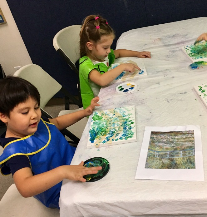 Monet Impressionism project Fine Art Class for preschool and kindergarten